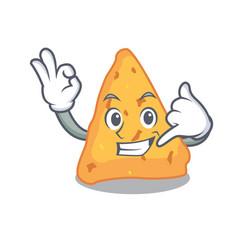 Call me nachos mascot cartoon style vector