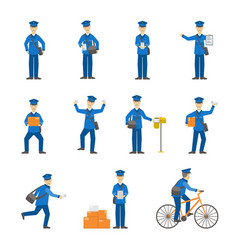 cartoon color postman male characters set vector image