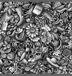 Cartoon cute doodles hand drawn spring seamless vector