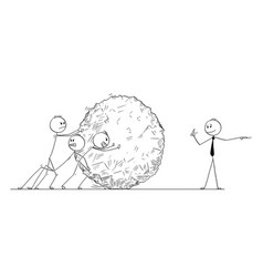cartoon of business team pushing big stone ball vector image