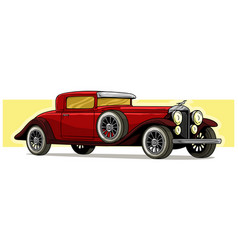cartoon retro vintage luxury red car icon vector image