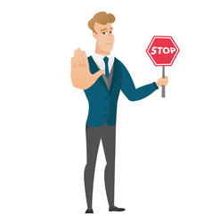 Caucasian groom holding stop road sign vector