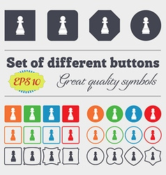 Chess Pawn icon sign Big set of colorful diverse vector image