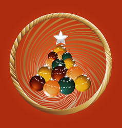 christmas baubles tree and golden border on red vector image