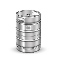 Classic stainless steel beer keg barrel vector