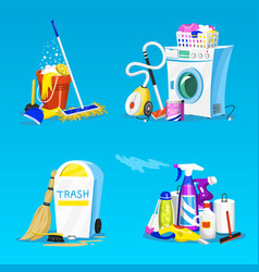 cleaning tools set house icons for poster vector image