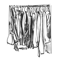 Clothes on the hanger outerwear dress and coat vector