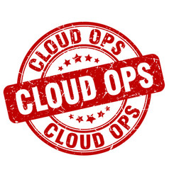 Cloud ops red grunge stamp vector