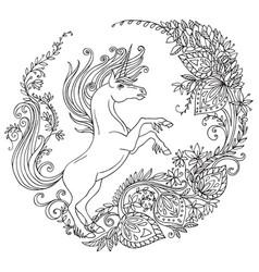 coloring unicorn 9 vector image