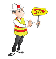construction worker showing stop sign at site vector image