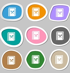 Cook book icon symbols Multicolored paper stickers vector