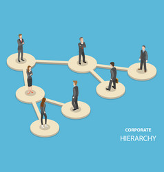 Corporate hierarchy flat isometric concept vector
