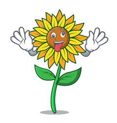 Crazy sunflower mascot cartoon style vector