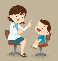 cute boy see female doctor vector image