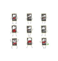 Cute cartoon emoticon phones with gray faces set vector