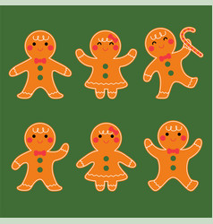 cute gingerbread boy and girl character set vector image