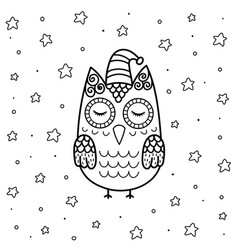 cute sleeping owl in entangle style coloring page vector image