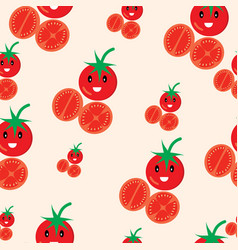 cute tomato seamless pattern vector image