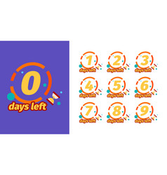 Days to go badges design with days counter timer vector
