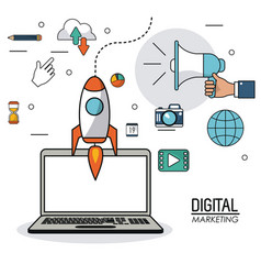 Digital marketing laptop innovation internet vector