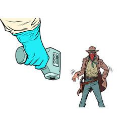 duel with coronavirus humorous concept vector image