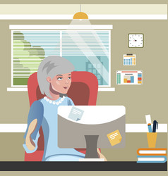 elderly woman work on computer vector image