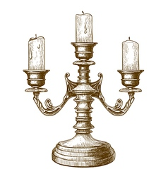 Engraving candlestick vector