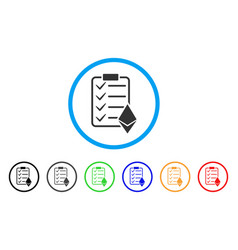 Ethereum smart contract rounded icon vector