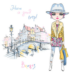 fashion girl in winter clothes in bruges vector image