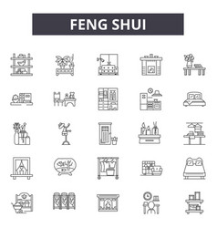 Feng shui line icons for web and mobile design vector