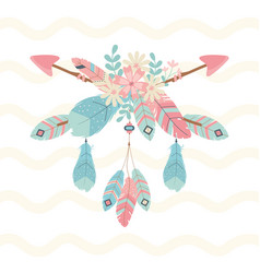 Flowers and feathers with arrows decoration boho vector