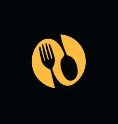 food logo spoon and fork icon cafe or restaurant vector image