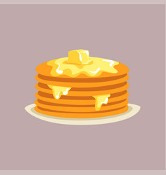 fresh tasty pancakes with butter on a plate vector image