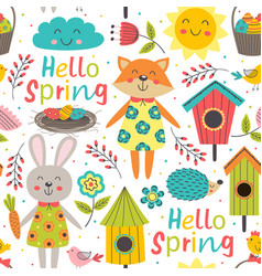 funny spring seamless pattern with cute animals vector image