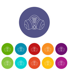 Gas mask icons set color vector
