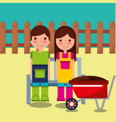Girl and boy gardener farm vector