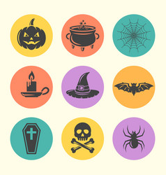 halloween isolated round colored icons vector image