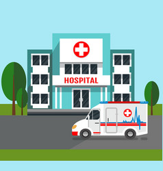Hospital building and ambulance car vector