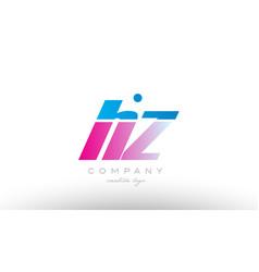 hz h z alphabet letter combination pink blue bold vector image