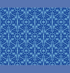 Indigo dyed textile seamless pattern ethnic ikat vector