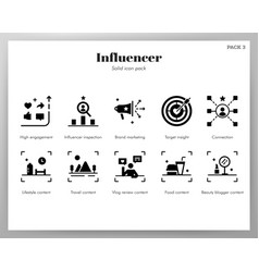 Influencer icons solid pack vector