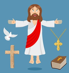 Jesus and accessories holy biblical set son god vector