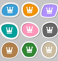 King Crown icon symbols Multicolored paper vector
