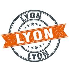 Lyon red round grunge vintage ribbon stamp vector