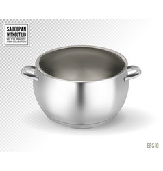 Metal saucepan without lid realistic 3d vector