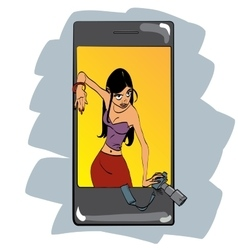 Mobile photo app girl photographer vector image