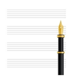 Musical Staff and Pen vector image
