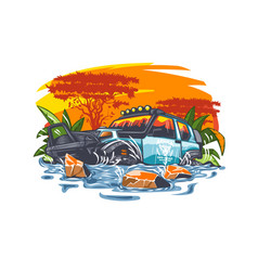 Off-road car in water against backdrop vector