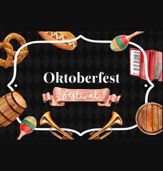 Oktoberfest classic frame design with beer bucket vector