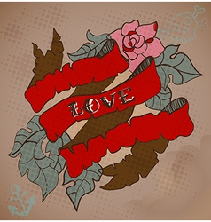 Old-school style tattoo card with flowers and vector